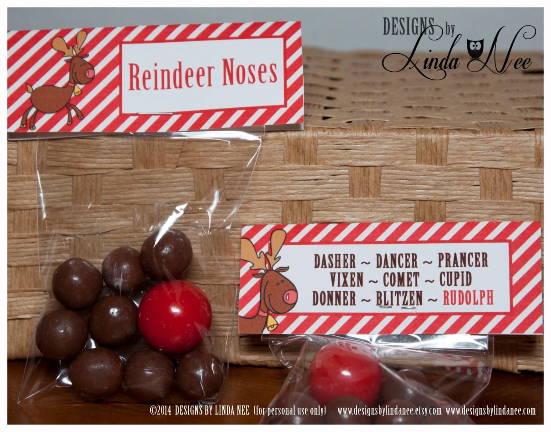 Reindeer Noses Brights Treat Bag Topper 4 Printable Etsy