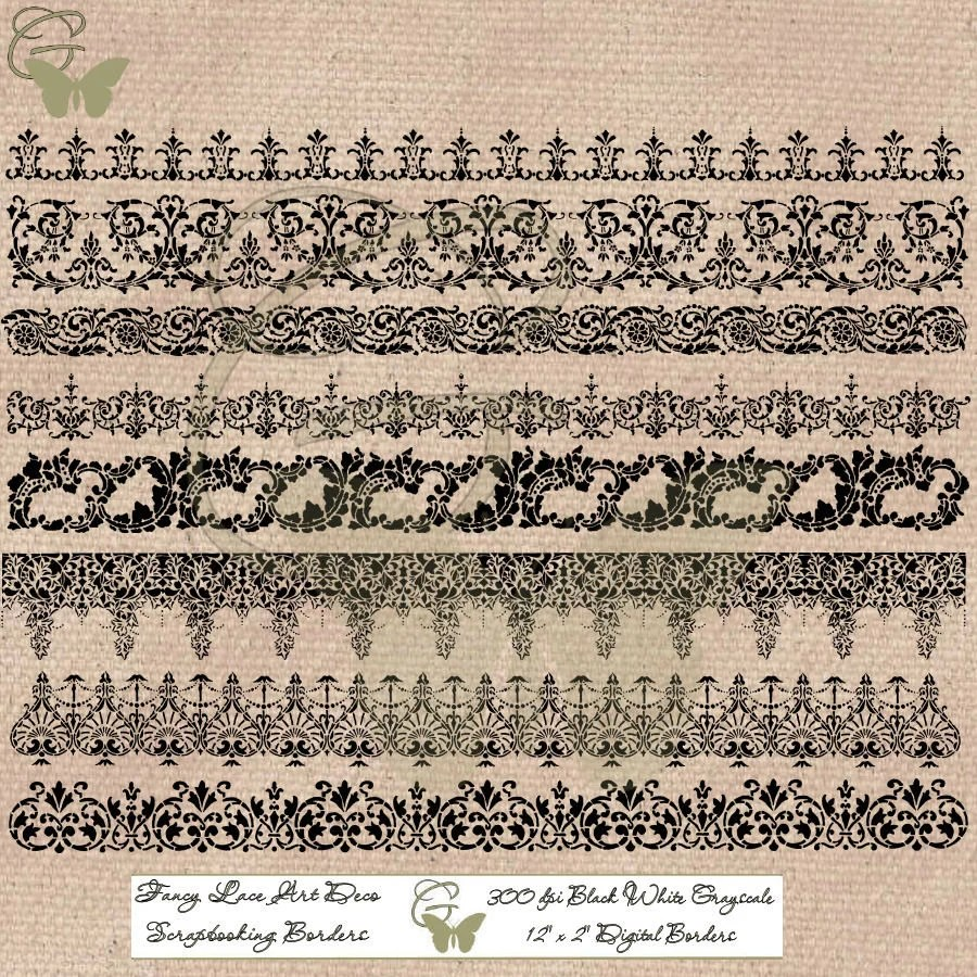 Printable Lace Border Paper Crafting Supply Download Art Etsy