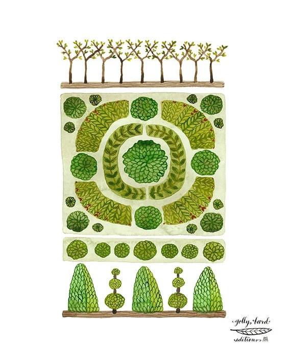 Decoration Parterre Large Parterre Garden No 2 Print Watercolor Reproduction Giclee Print Garden Plan English Garden Illustration Botanicals Topiary