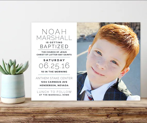 lds baptism announcement baptism invitation printable Etsy