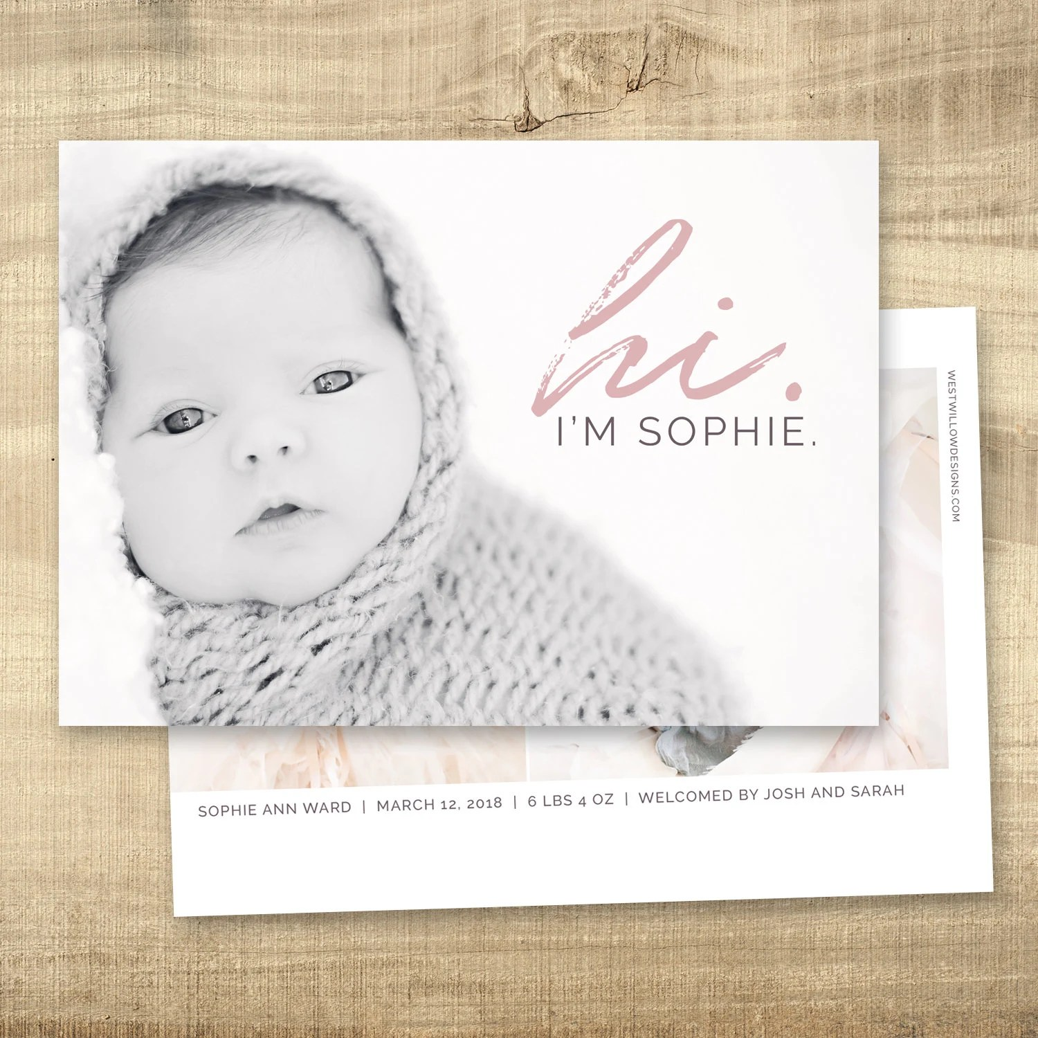 Birth announcement photo card photo birth announcement birth Etsy