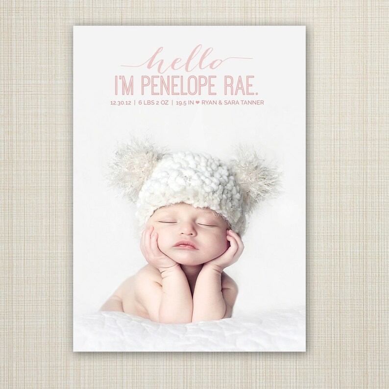Birth announcement card baby announcement template baby girl Etsy