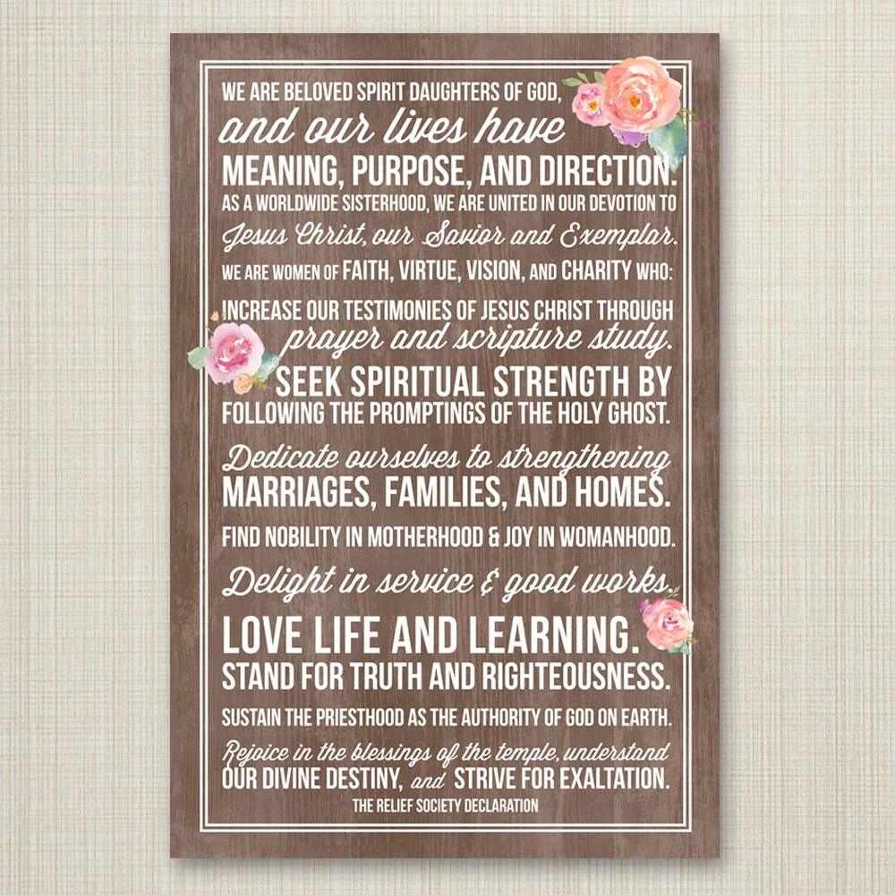 LDS Relief Society Declaration printable poster INSTANT Etsy