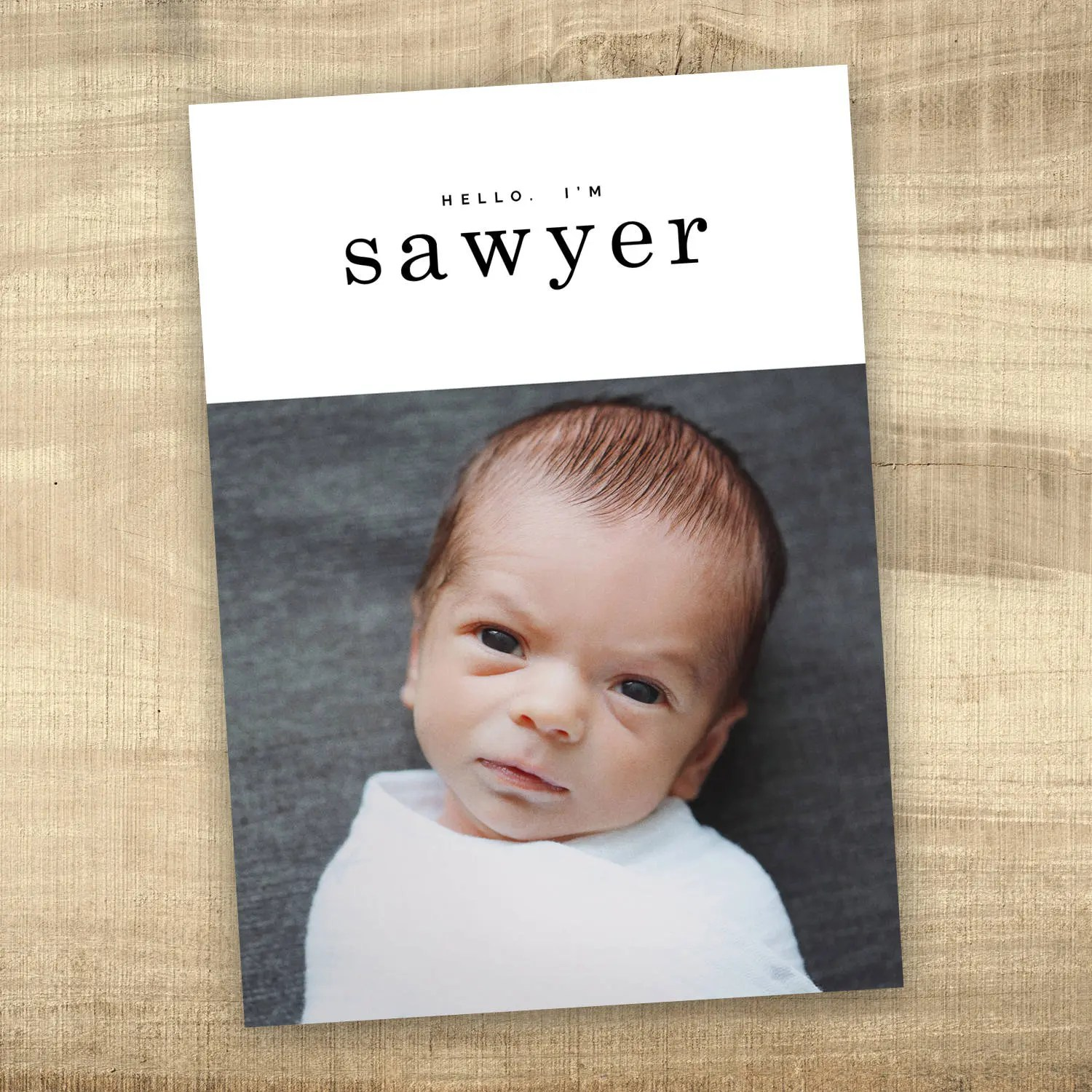 Baby announcement photo card simple hello baby birth Etsy