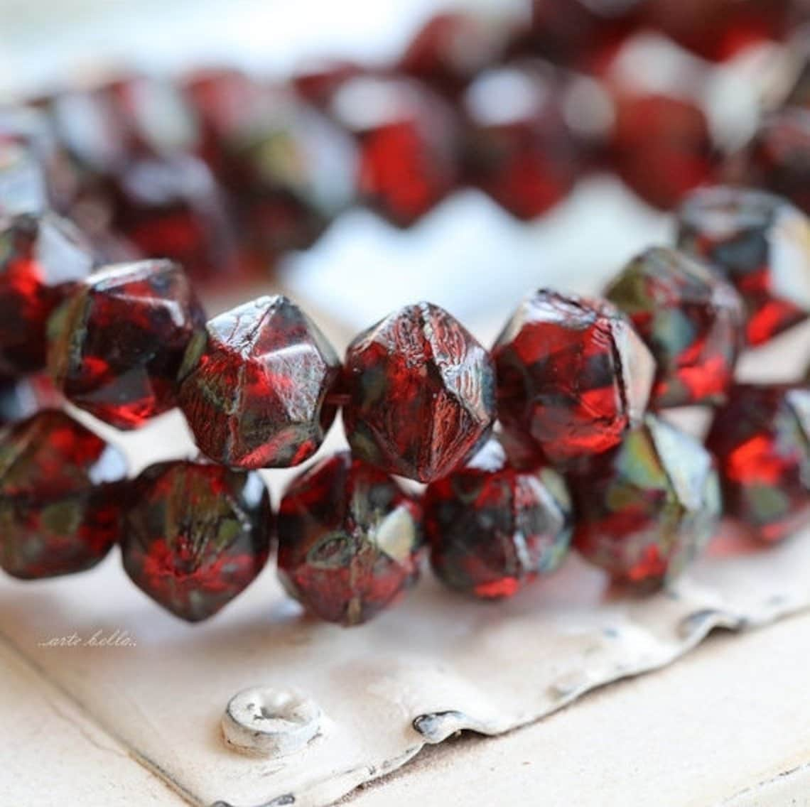 Arte Bella Surplus Ruby Treasures No 2 20 Picasso Czech Glass English Cut Beads 8mm 5218 St