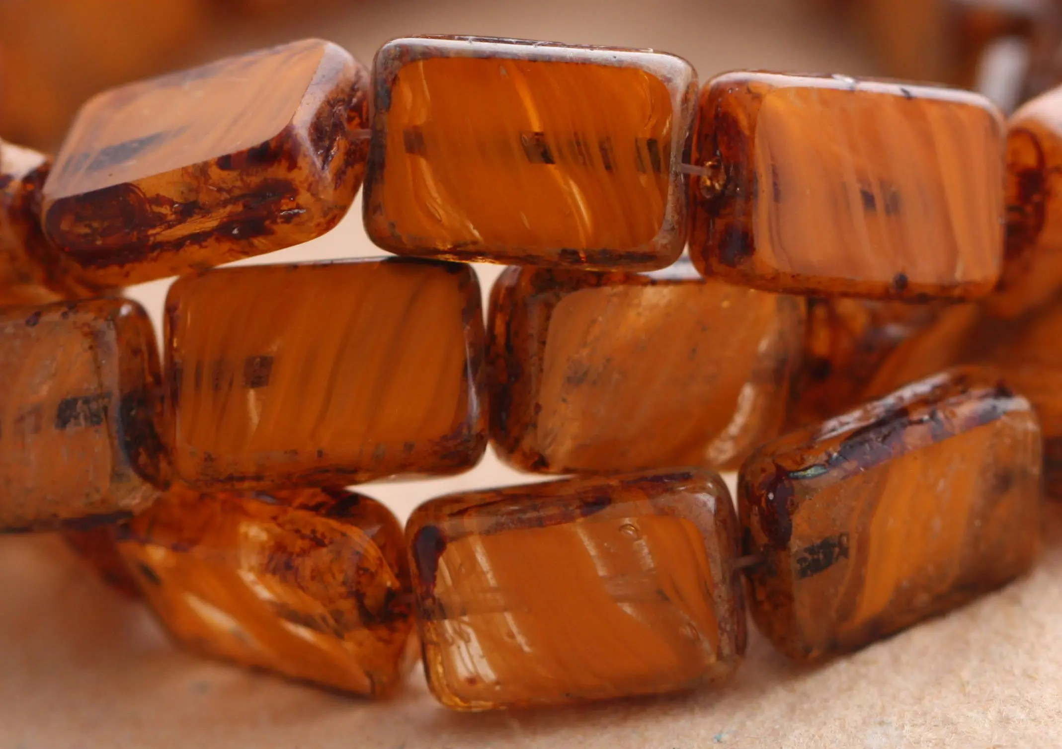 Arte Bella Surplus Sale Striped Oranges 15 Picasso Czech Glass Rectangle Beads 12x8mm B1023 St