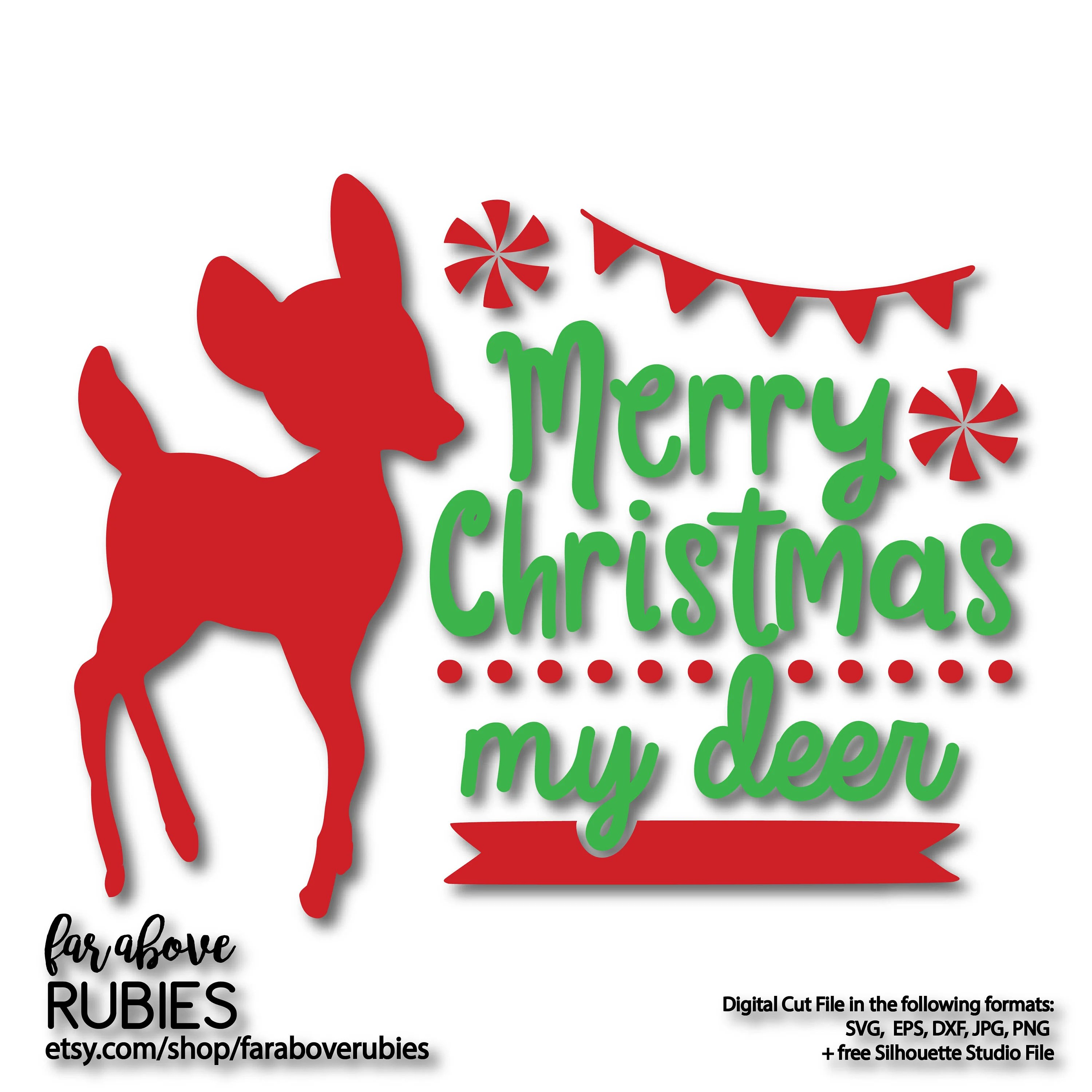 Merry Christmas my Deer Banner Peppermint SVG EPS dxf png Etsy