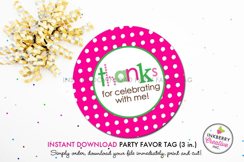 Pink and Green Polka Dot - Printable 3 inch Birthday Party Favor