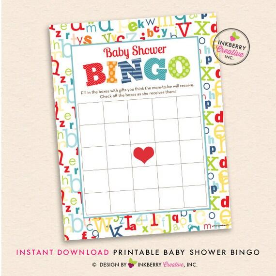 Alphabet Baby Shower Printable BINGO Game - Alphabet Theme, ABC Baby