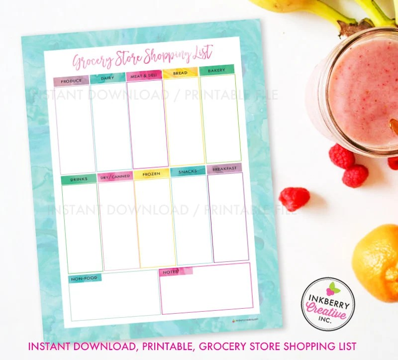 Printable Grocery Store Shopping List Instant Download PDF Etsy