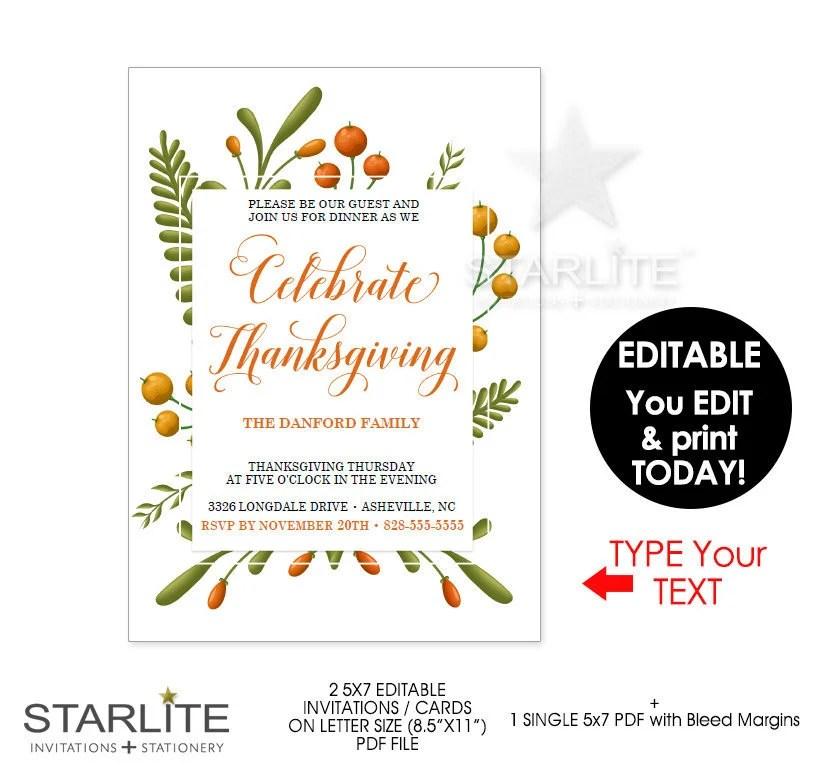 Thanksgiving Invitation, Thanksgiving Invitations INSTANT DOWNLOAD