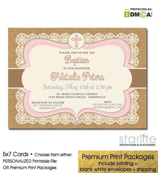 Baptism Invitation Girl Girl Baptism Invitation Pink Brown