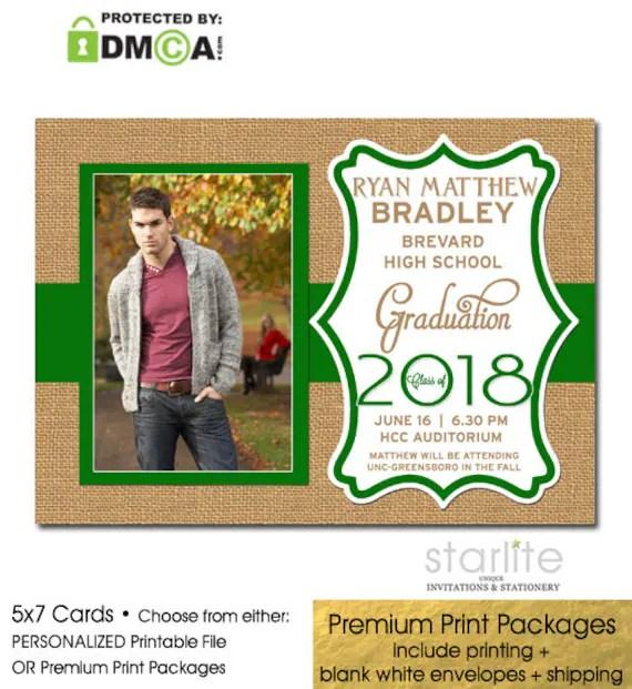 Green Graduation Announcement, Printable Graduation Invitation