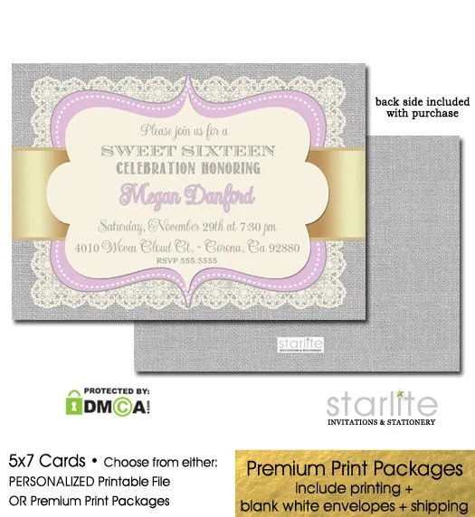Lavender Gold Sweet 16 Invitation Sweet Sixteen Party Invitation