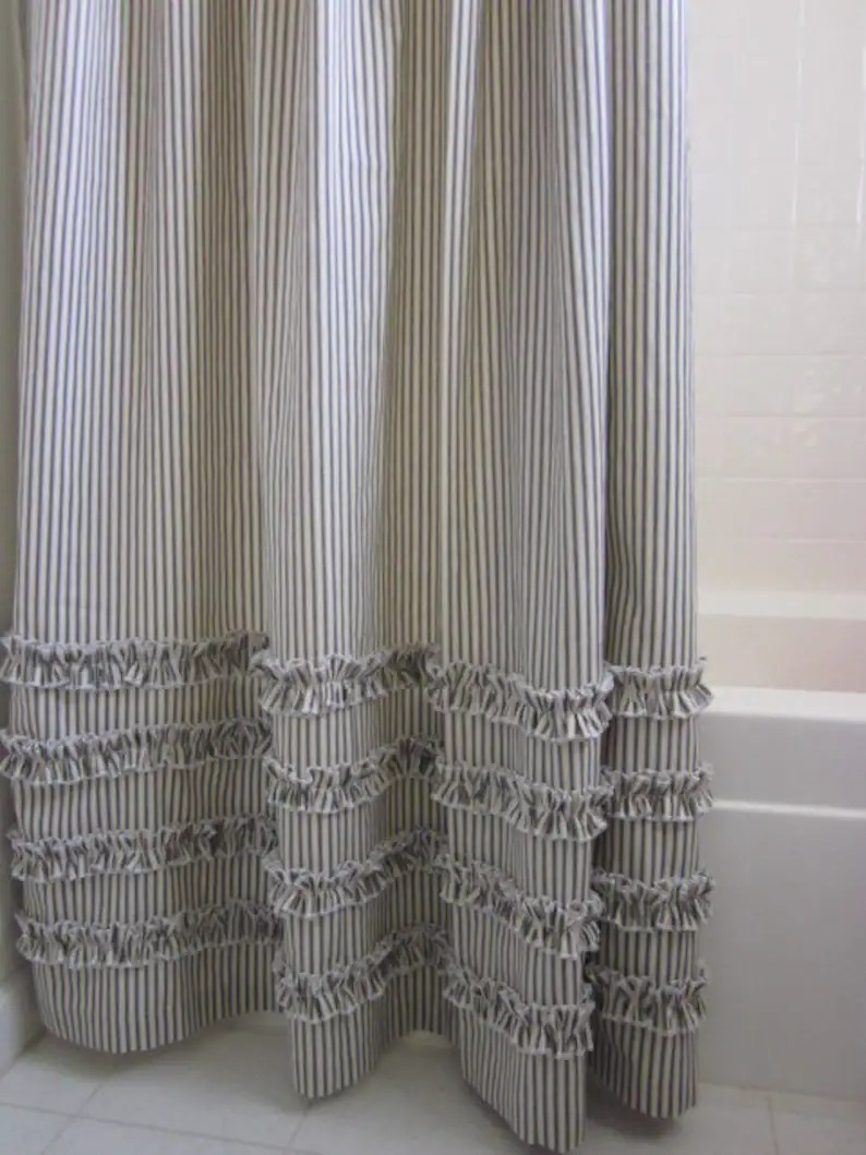 Long Shower Curtain Ruffled Ticking Stripe Shower Curtain Extra Long 72 X 96 Black Brown Gray Red Navy