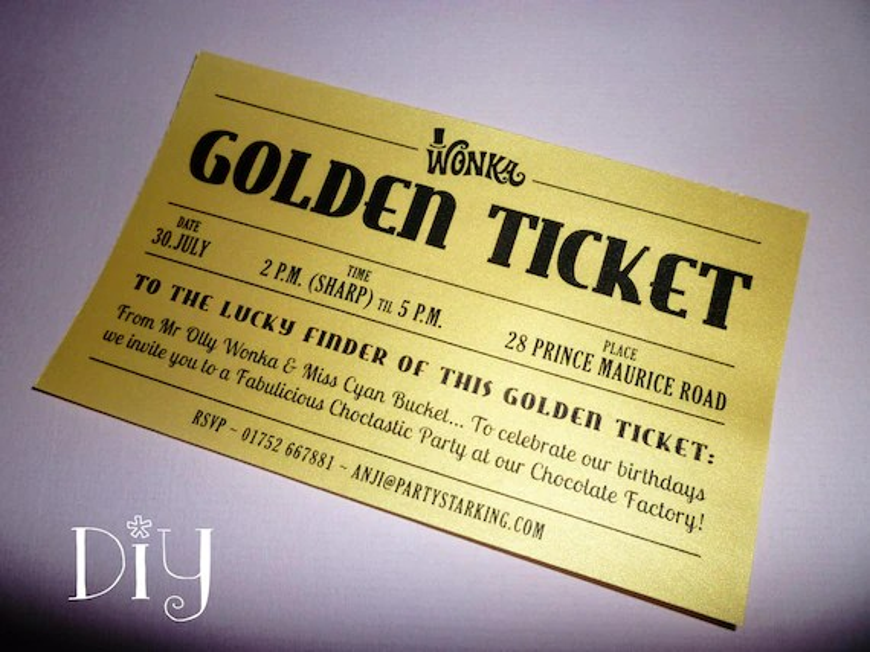 Golden Ticket invitations printable Willy Wonka invitations Etsy