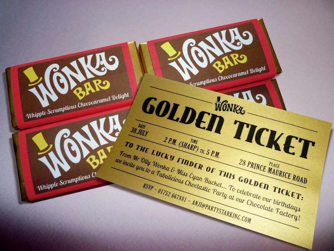 Wonka Bar  Golden Ticket invitations printed Willy Wonka Etsy