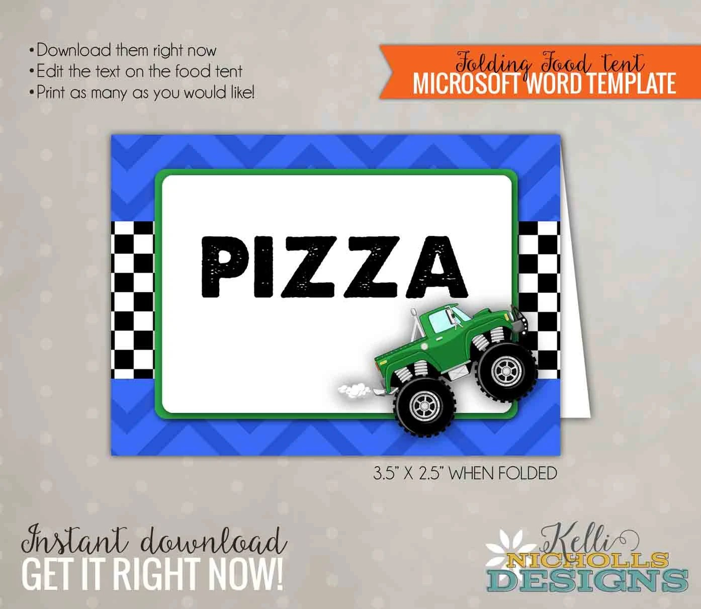 Monster Truck Party Food Tent Blue and Green Truck Birthday Etsy