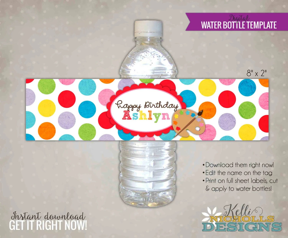 Children\u0027s Art Water Bottle Label Template Printable Arts Etsy