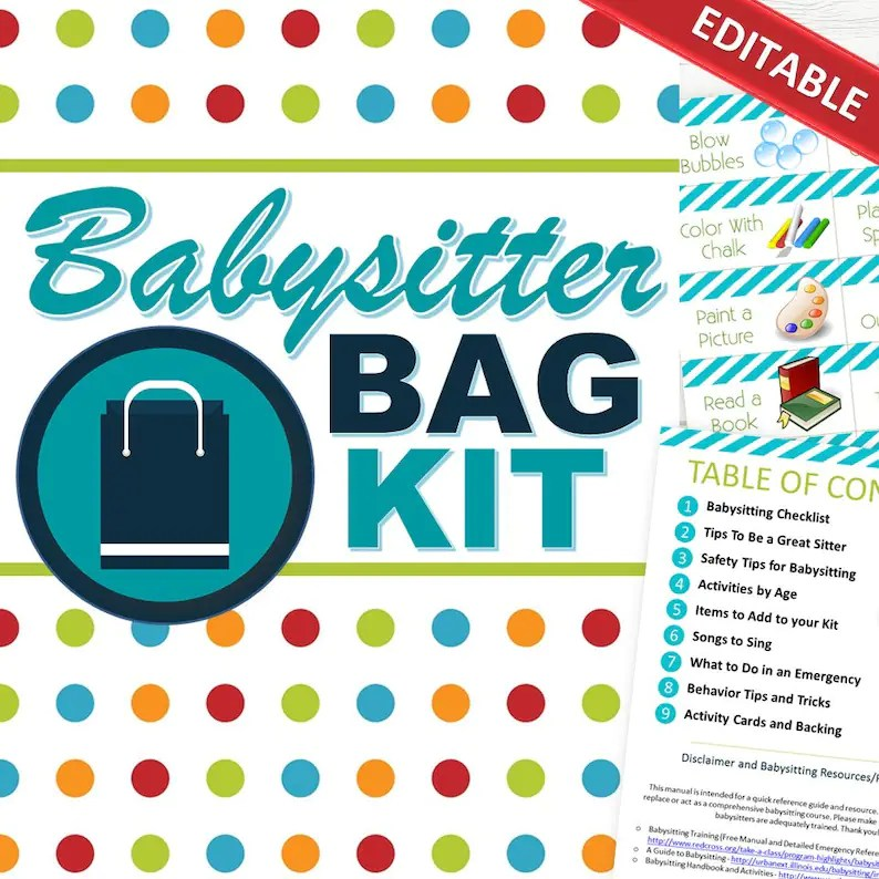 EDITABLE Babysitting Kit All-In-One INSTANT DOWNLOAD Etsy