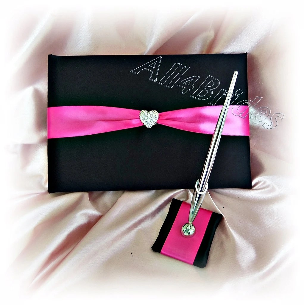 Wedding guest book and pen black and hot pink guest book with Etsy