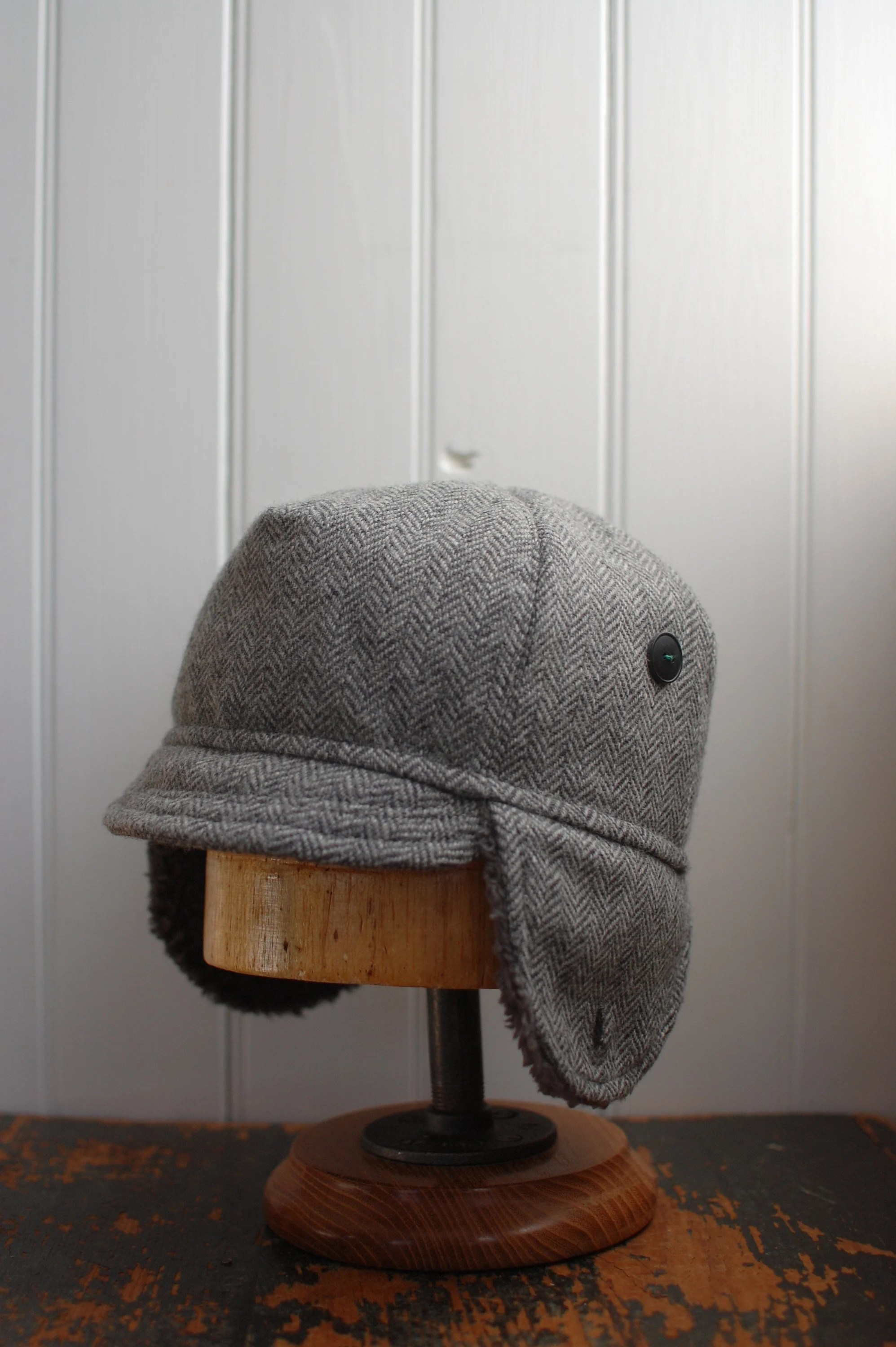 Xl Winter Flapjack Xl Winter Hat For Men Or Women Gray Wool Hat Ear Flap Hat One Of A Kind Hat Made From Recycled Materials