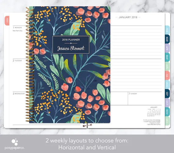 personalized planner 2018  2019 calendar add monthly tabs Etsy