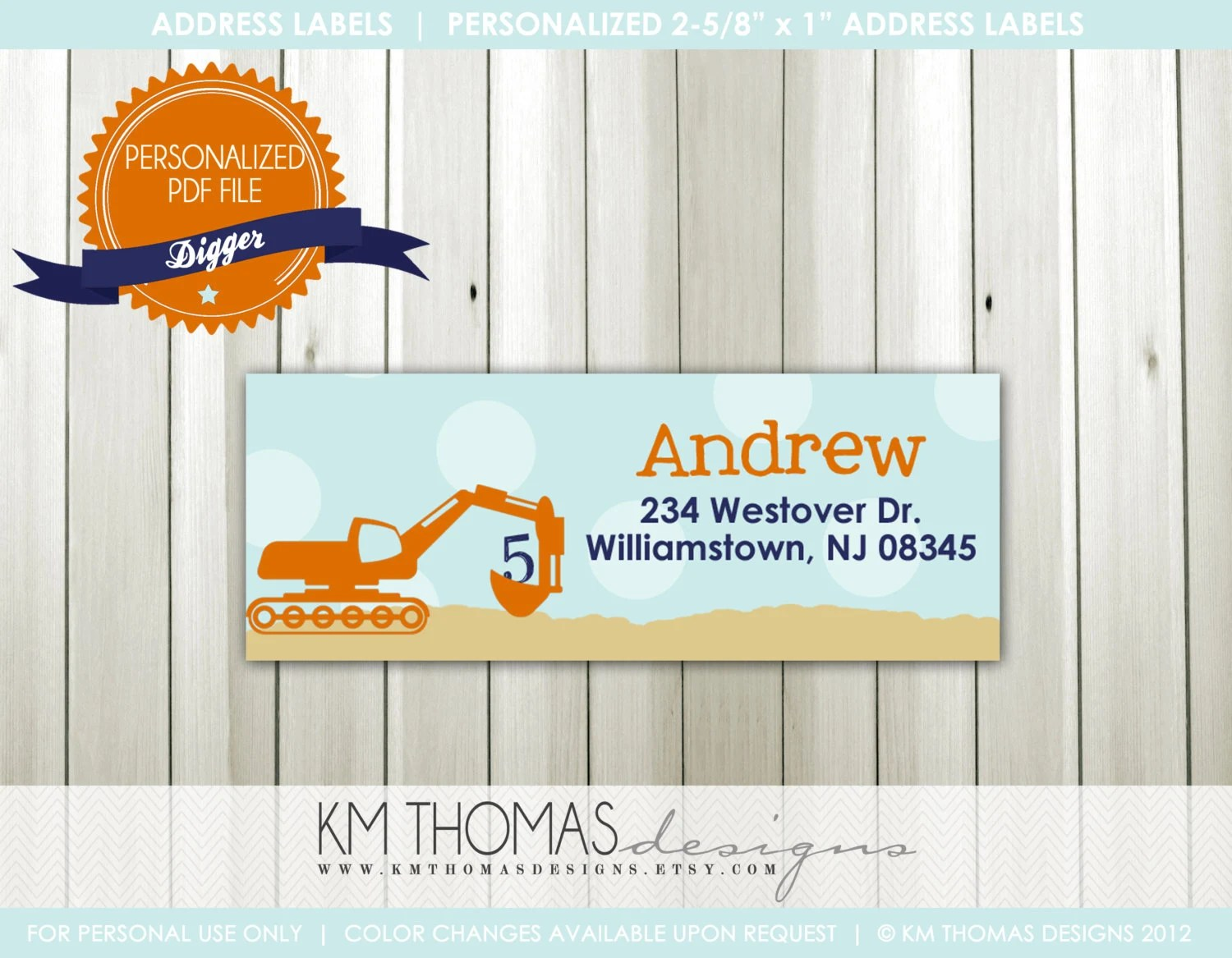 DIGGERCustom Address Label or StickerPrintable Designby KM