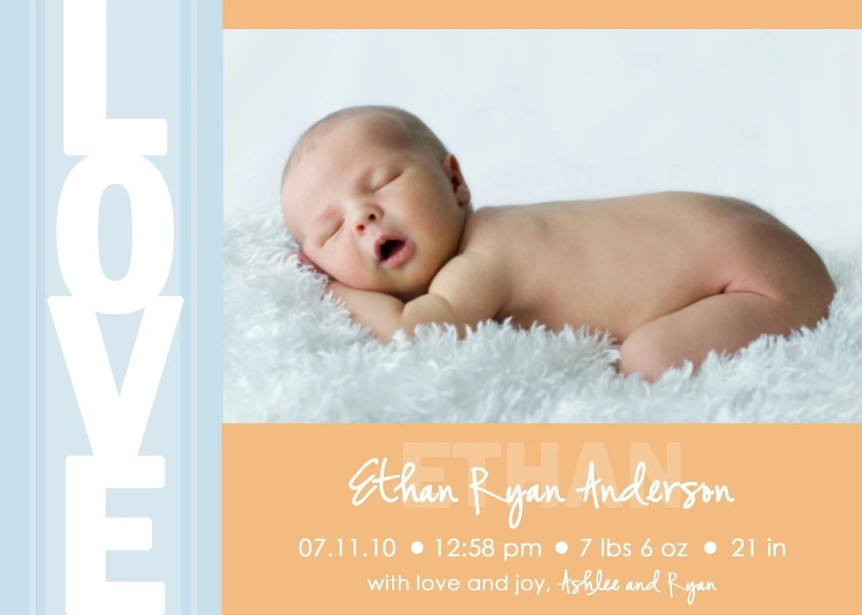 Printable Photo Birth Announcement - Baby Boy Announcement - Baby