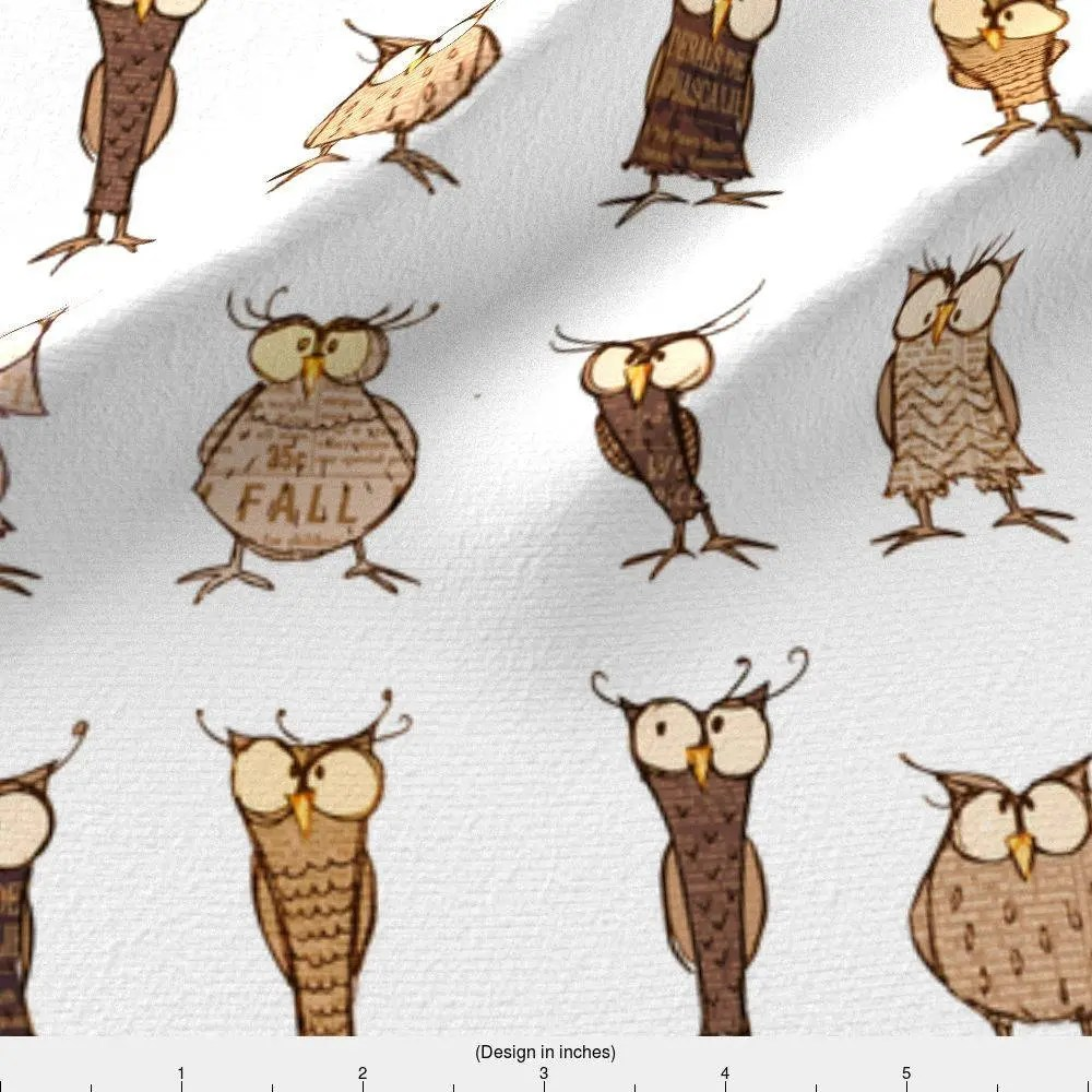 Woodland Owl Fabric Owl Shapes And Sizes By Mulberry Tree Etsy