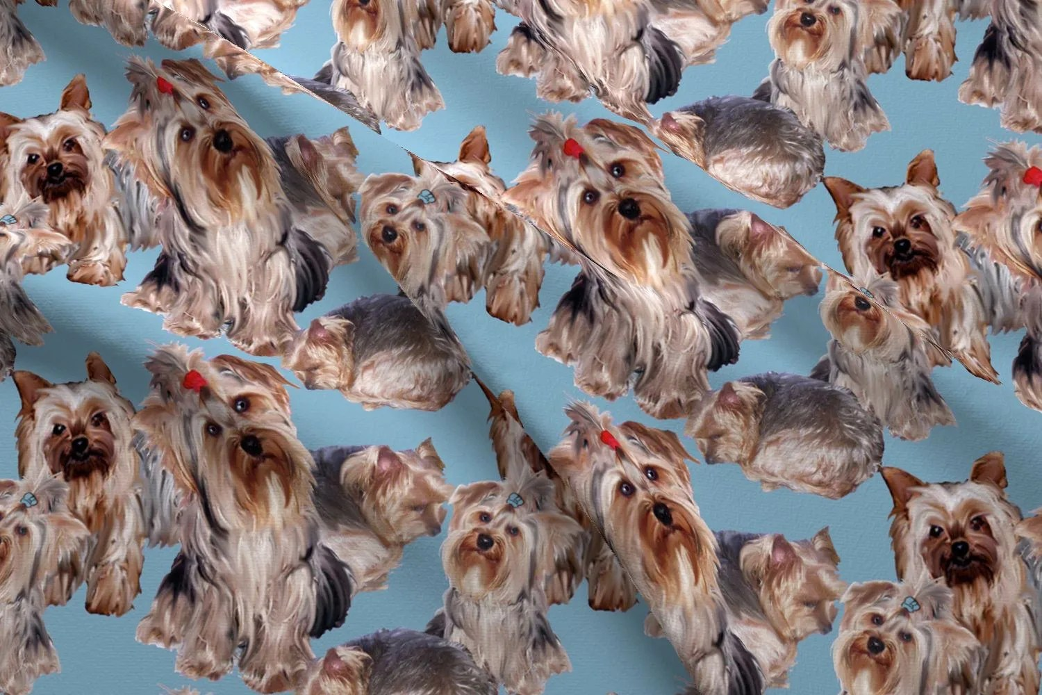 Bagno Yorkshire Yorkies On Blue Fabric Yorkshire Terrier Fabric By Dogdaze Yorkies Puppy Pet Cotton Fabric By The Yard With Spoonflower