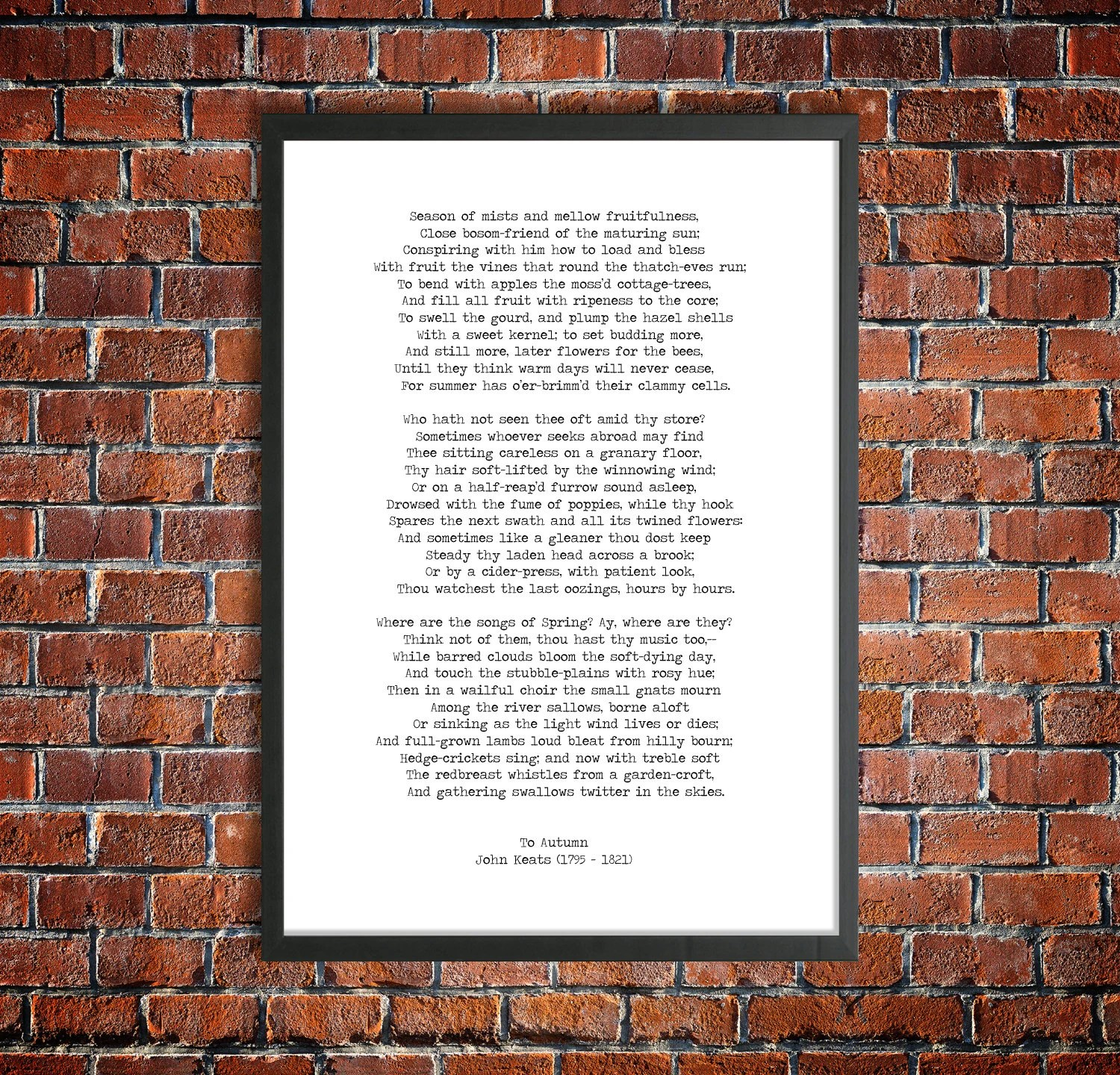 John Keats Printable Poetry \u0027To Autumn\u0027 Digital Etsy