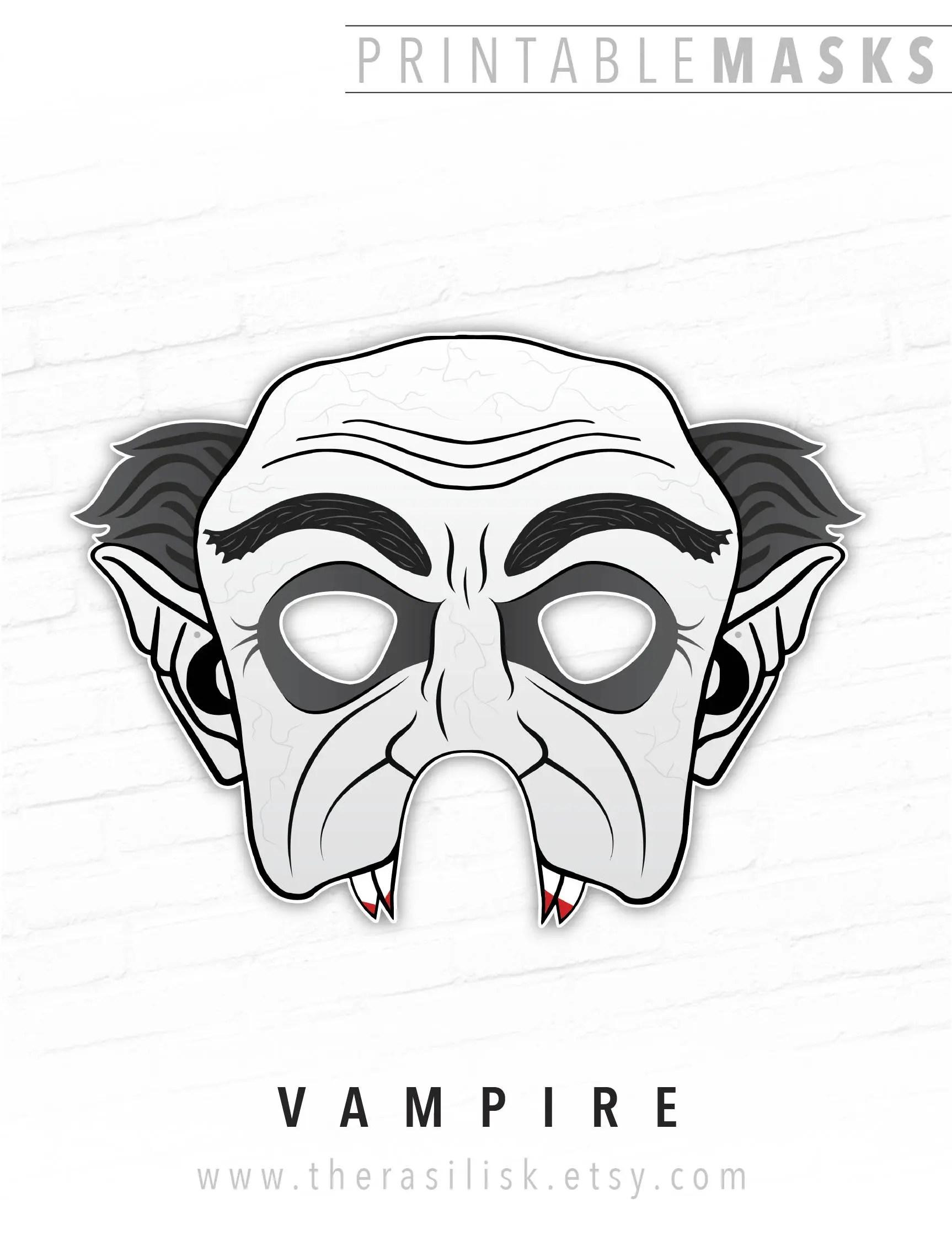Halloween Mask Printable Masks Vampire Mask Monster Paper Etsy