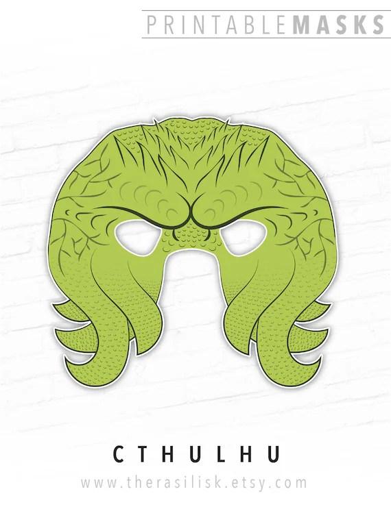 Halloween Mask Printable Mask Cthulhu Mask Cthulu Tentacle Etsy