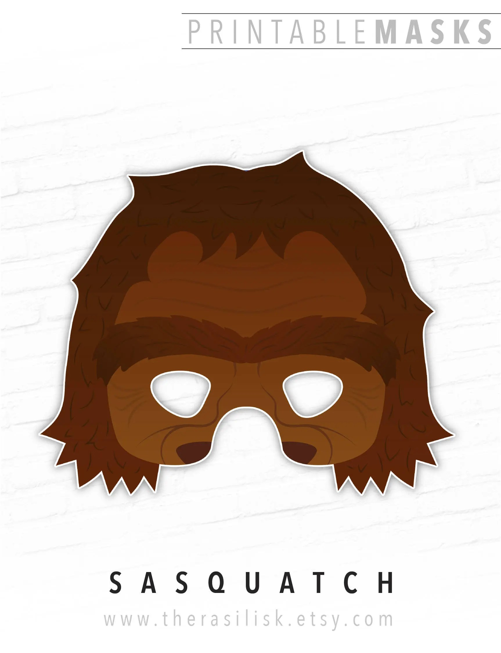 Printable Mask Halloween Mask Sasquatch Big Foot Monster Etsy