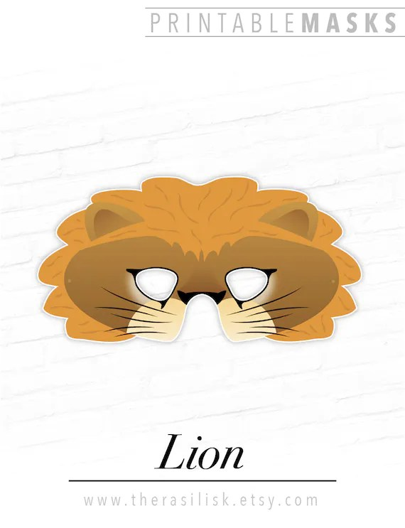 Printable Lion Mask Jungle Party Mask Lioness Printable Etsy