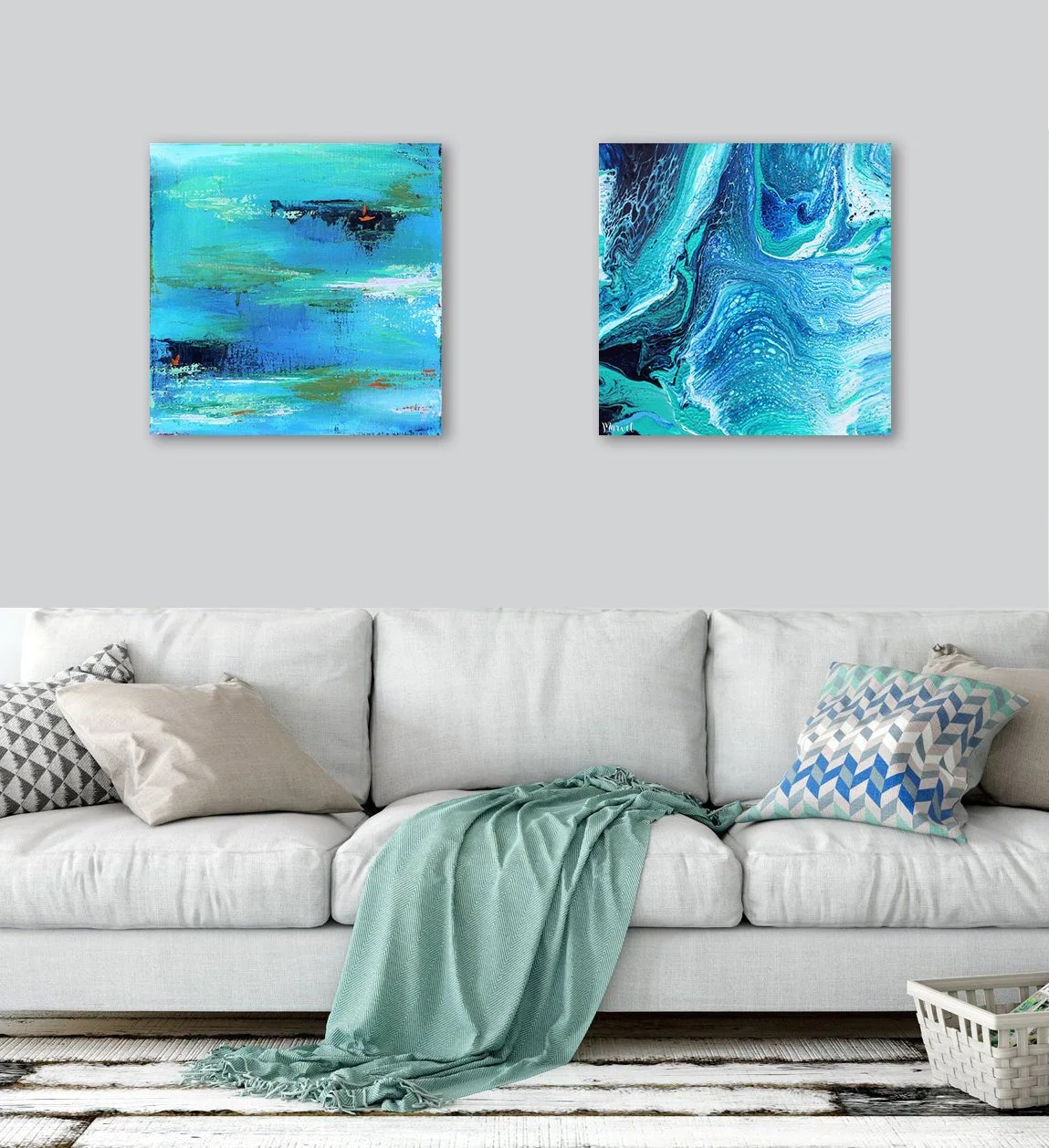 Abstract Art Prints On Canvas 2 20x20 Abstract Art Prints Canvas Large Wall Art Abstract Landscape Pour Painting Blue Green Turquoise Art Set Of 2 Prints On Canvas