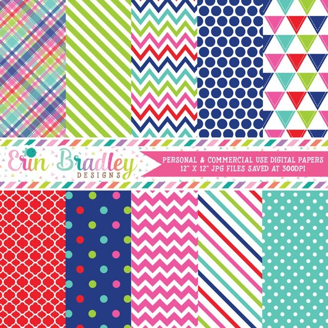 Instant Download Digital Papers Triangle Plaid Chevron Striped and