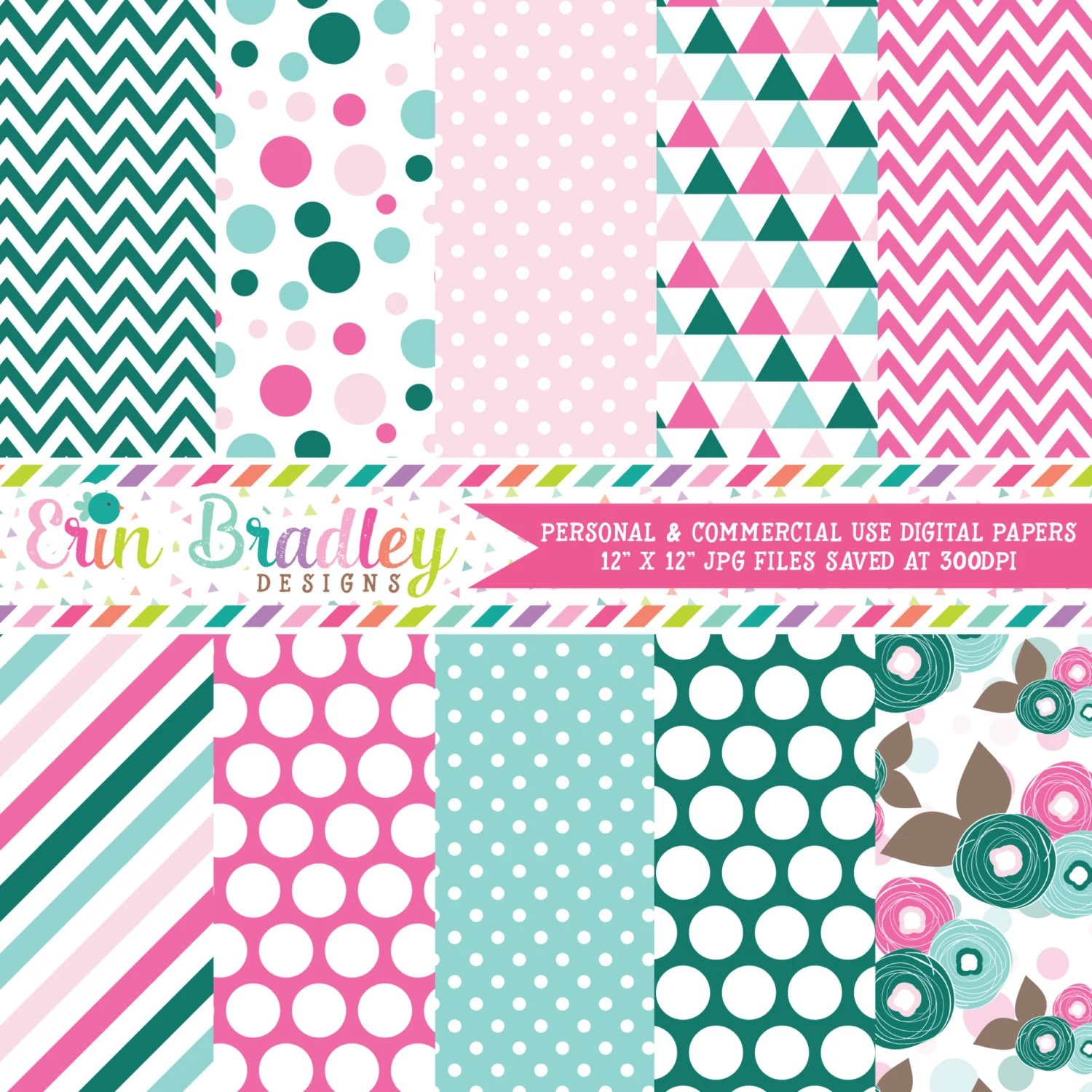 Commercial Use Digital Papers Pink Blue  Green Polka Dots Triangles