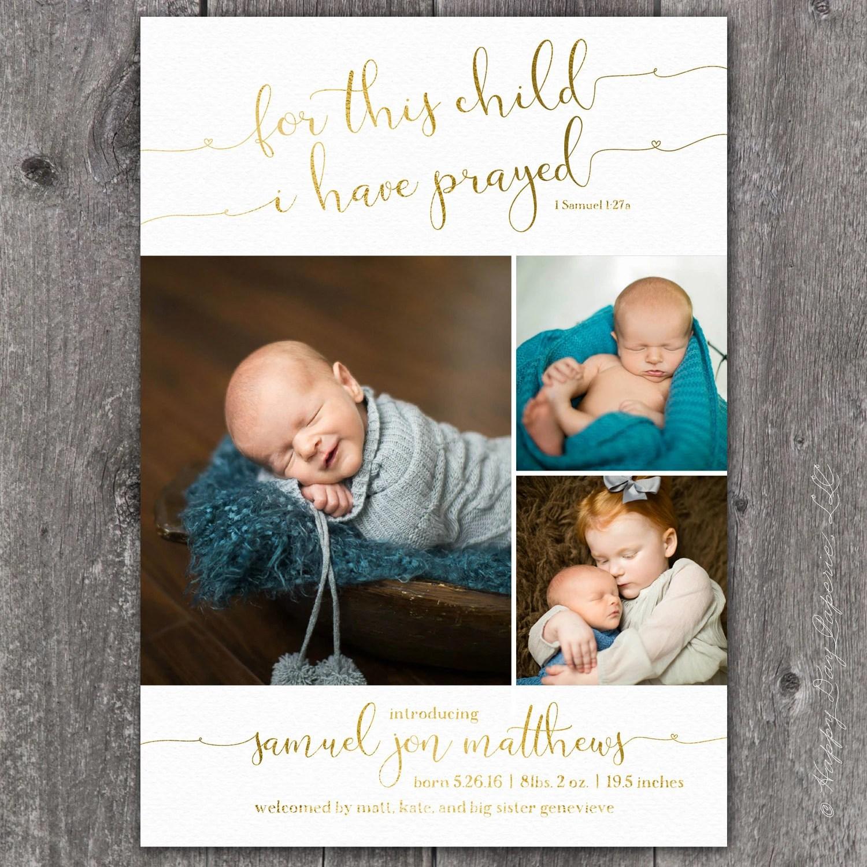 Christian Birth Announcement 1 Samuel 127 Birth Announcement