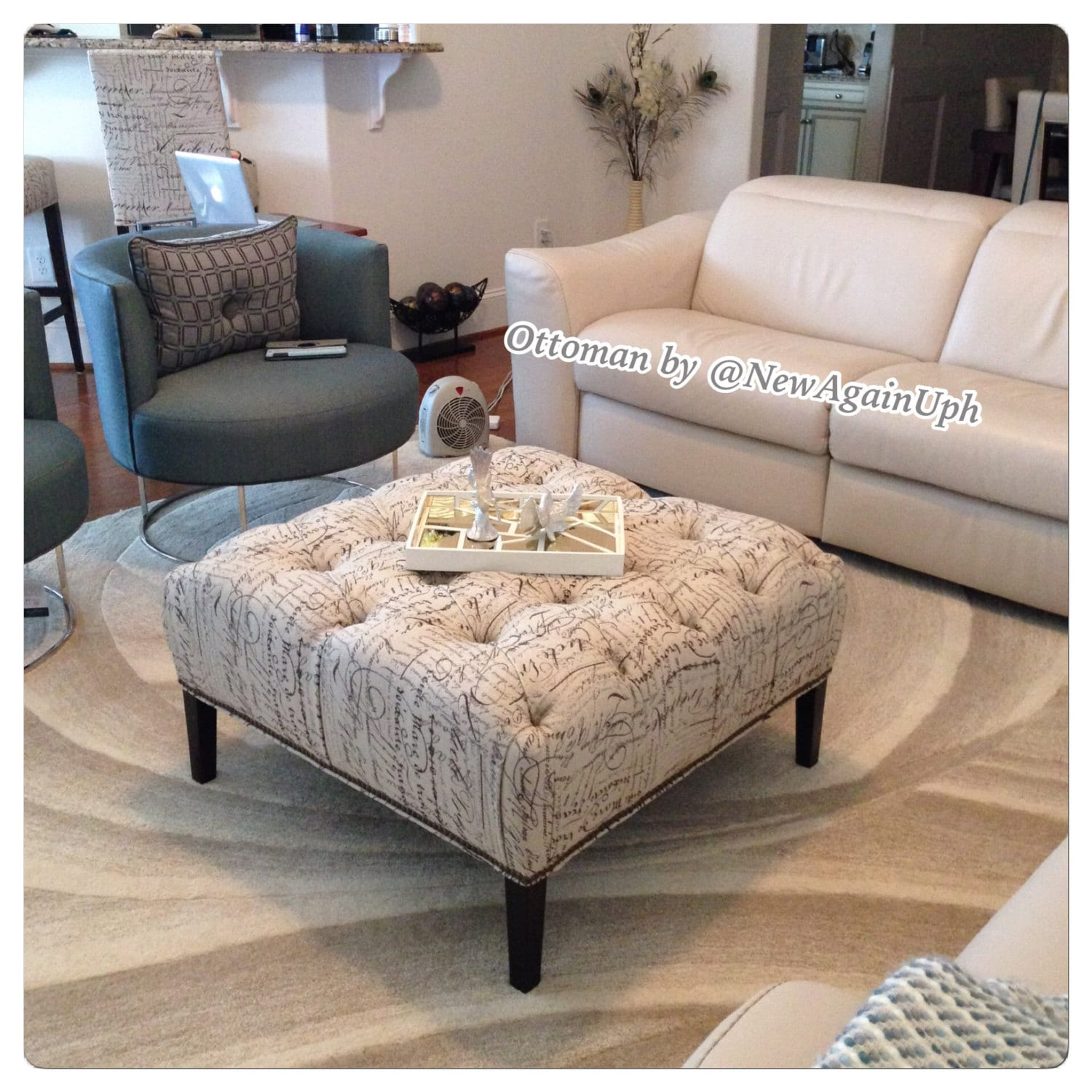 Square Ottoman Coffee Table Tufted Ottoman With Tapered Legs Nailheads And Rhinestones Square Ottoman With Nails Tufted Ottoman Tapered Legs
