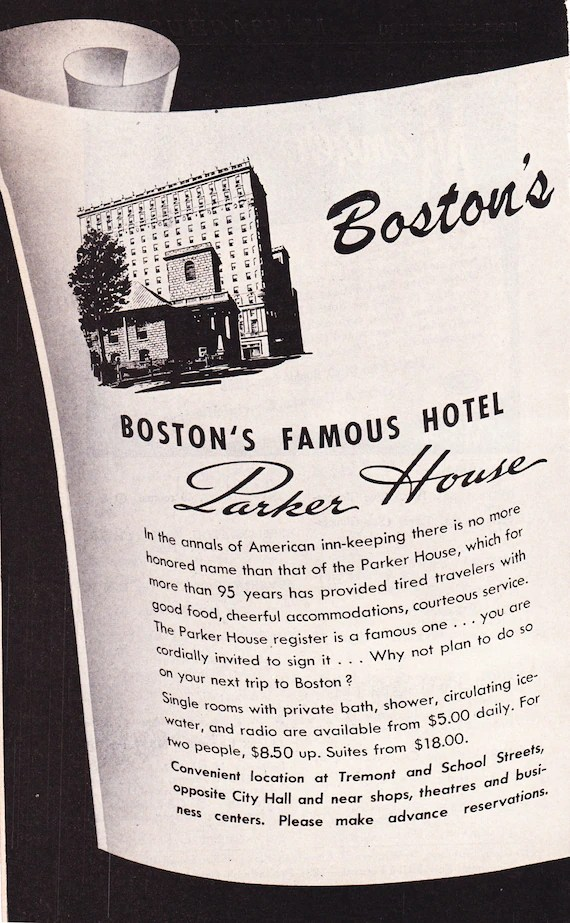 1950s Hotel Advertisement Bellevue and Parker House Boston Etsy