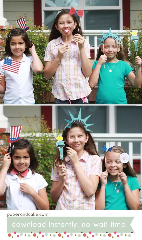 Patriotic Americana 4th of July Printable PHOTO BOOTH PROPS