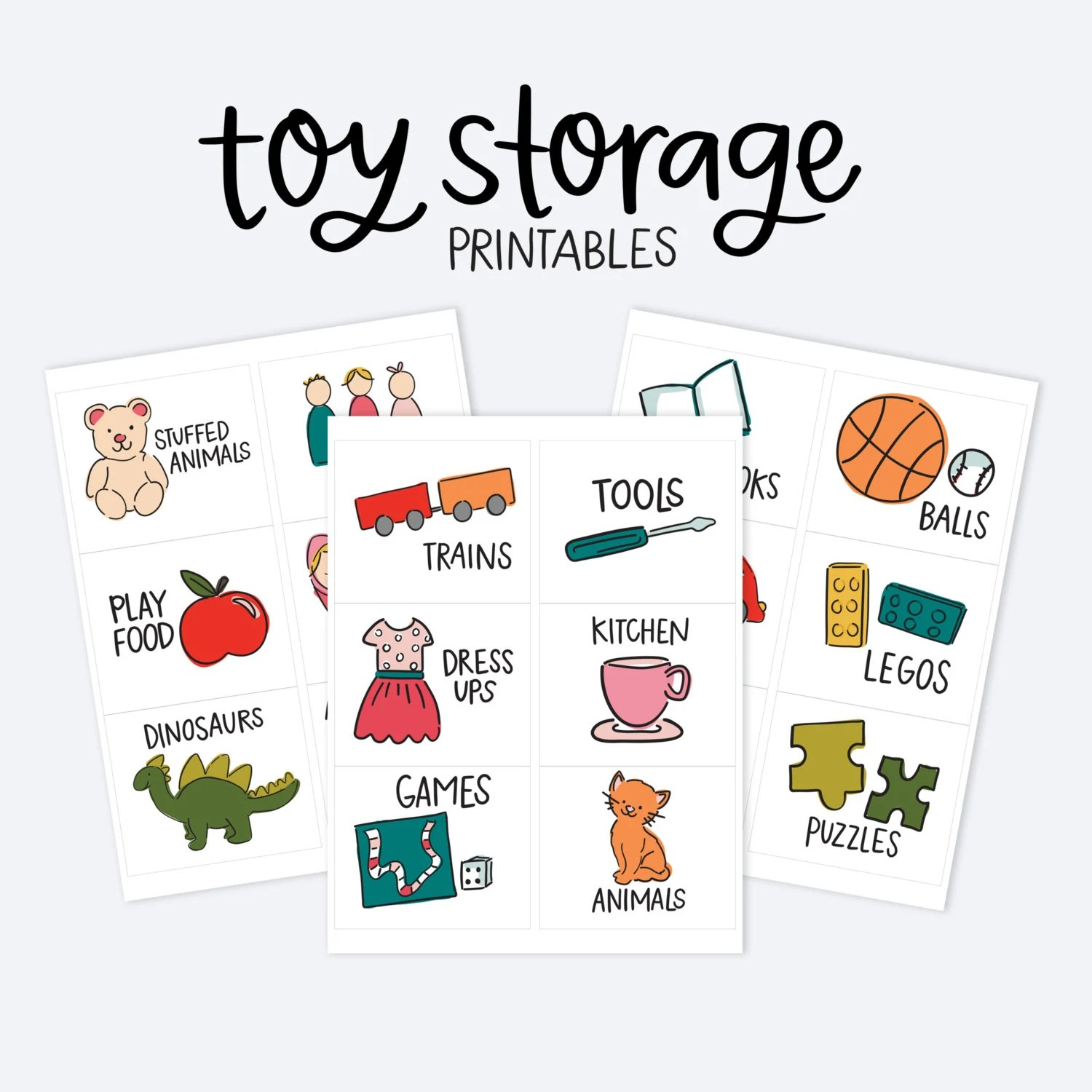 Kids Toy Room Organization Labels Storage Picture Printables Etsy