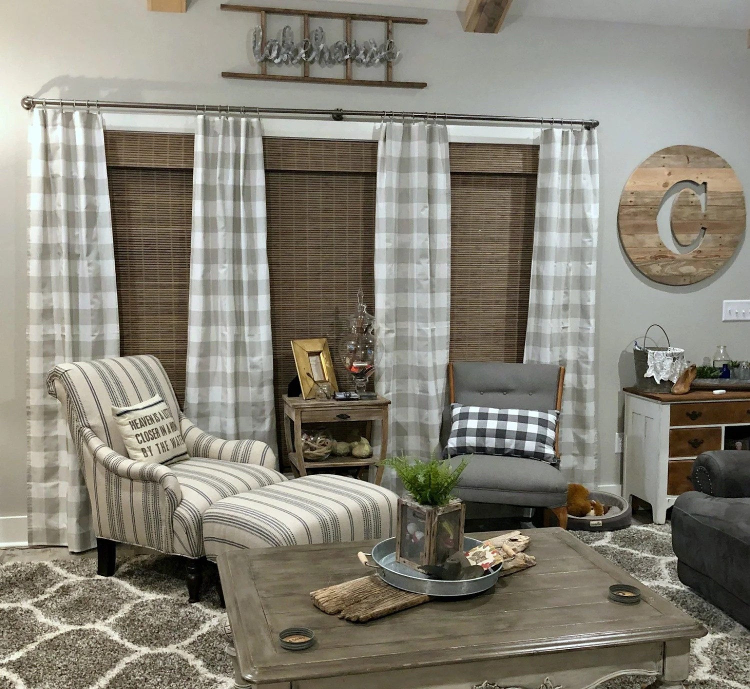 Grey And White Gingham Curtains Farmhouse Curtains French Gray Buffalo Check Buffalo Plaid Curtains Pair Of Rod Pocket Panels Anderson French Grey White Large Gingham
