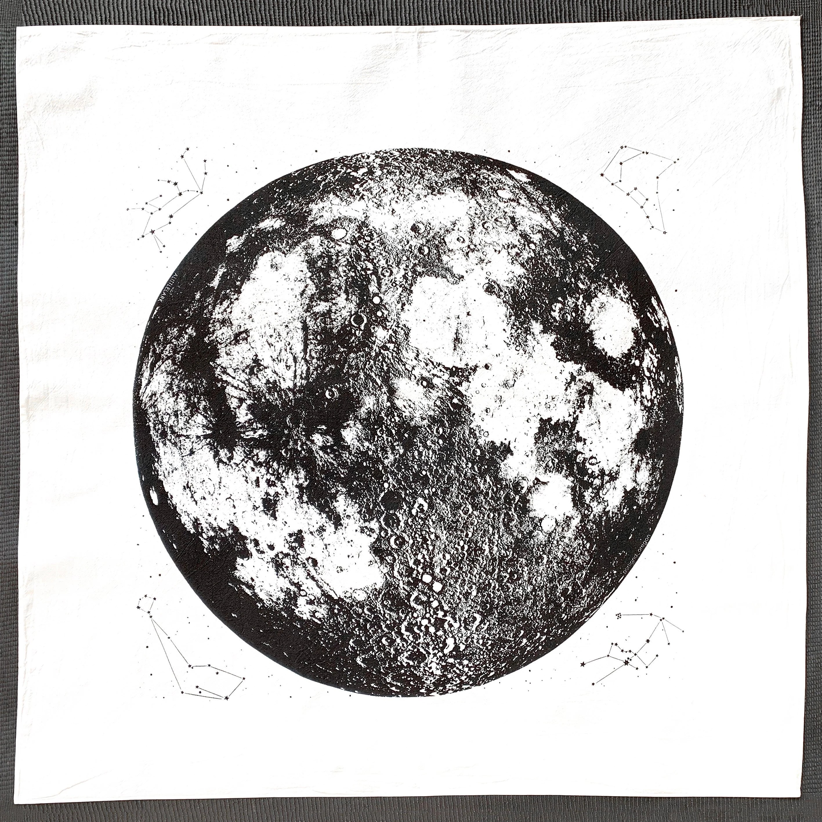 Full Moon Drawing Black And White Full Moon Towel Hand Printed In Portland Reusable Cloth Unbleached And Bright White Space Stars And Animal Constellations Print