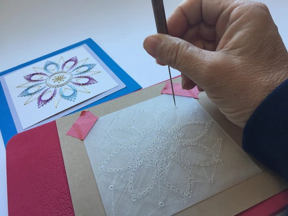Star Flower Template and Instructions for Two Stitched Cards Etsy