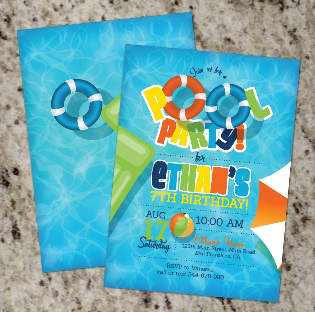 Pool Party Invitations Pool Birthday Party Invites Summer