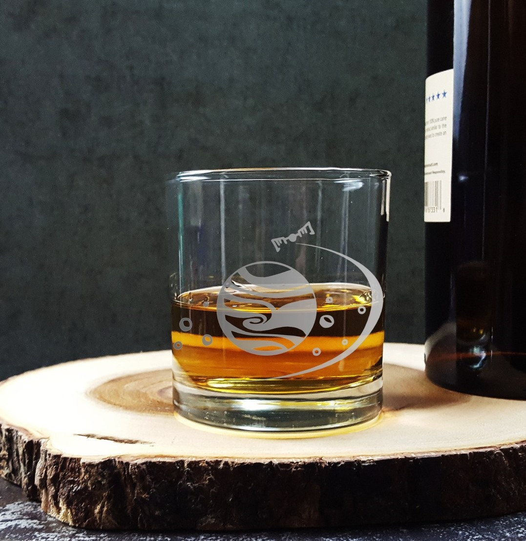 Wisky Glas Jupiter Planet Solar System Etched Whiskey Glass