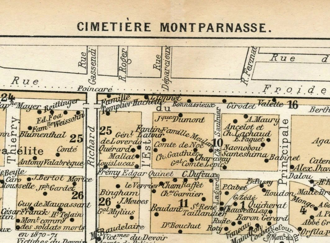 Bureau De Change Paris Montparnasse 1929 Antique Map Of Montparnasse Cemetery Paris